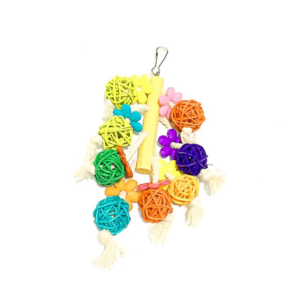 Preening Colorful Bird Toy Non-toxic Safe Chewing Hide Rattan Ball