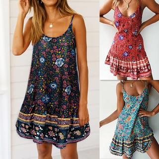 Đầm sát nách hoạ tiết hoa phong cách Bohomian thiết kế hở lưng quyến rũ