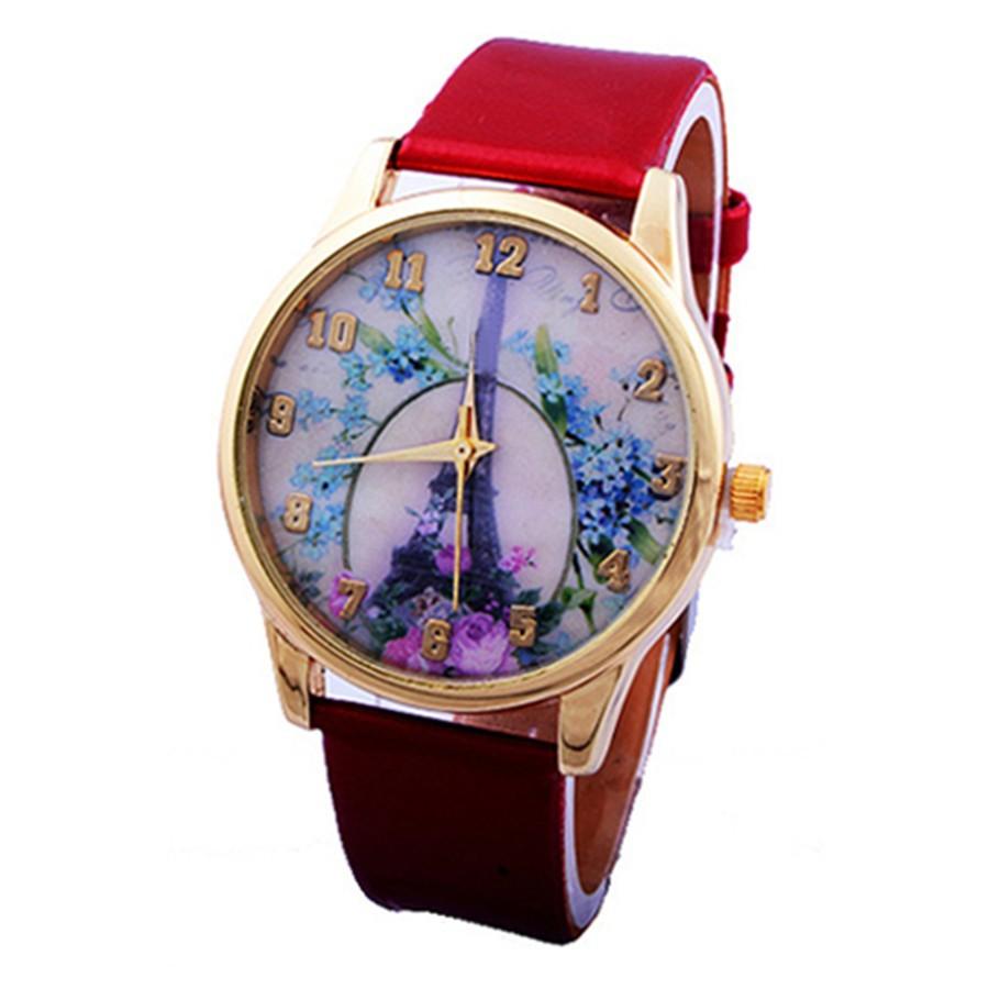 Đồng hồ in hoa/tháp Eiffel dễ thương cho nữ
