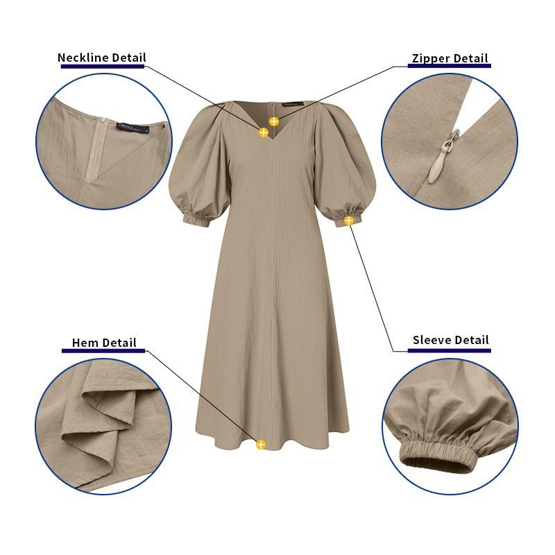 Mặc gì đẹp: Bồng bềnh với Đầm dài ZANZEA từ cotton kiểu dáng chữ A cổ chữ V tay phồng thời trang đường phố màu trơn cho nữ