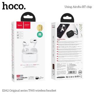 Tai nghe đôi Bluetooth True Wireless Hoco ES42 V5.0 - Hỗ trợ sạc không dây (Trắng)