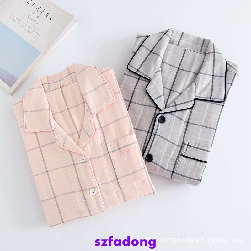 ผ้าฝ้ายผ้าโปร่งคู่ชุดนอนลายผู้ชายบางและหญิงผ้าฝ้าย