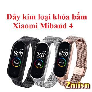 Dây đeo kim loại khóa bấm Xiaomi Miband 4 Miband 3
