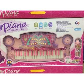 Hộp đàn Organ và Micro bé tập đàn và hát luyện khả năng âm nhạc