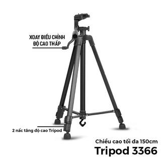 Giá đỡ chụp ảnh điện thoại Tripod 3 chân 3366 có remote bluetooth tương thích với nhiều dòng điện thoại, máy ảnh