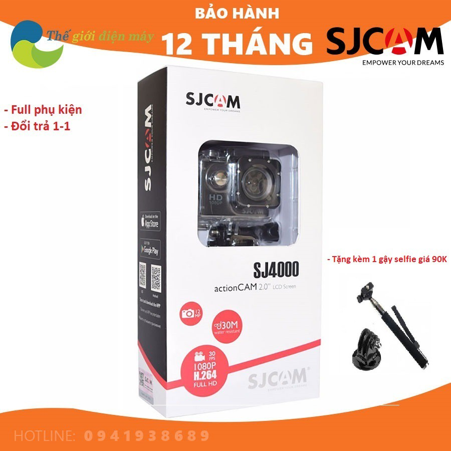 Camera hành trình, camera hành động SJCAM SJ4000 wifi 2 inch, chất lượng  full HD bảo hành 12 tháng, đổi trả 1 vs 1