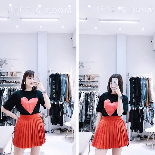 F90 - Set áo phông trái tim to chân váy xếp ly