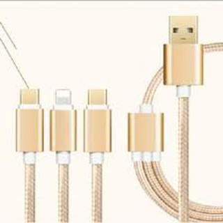 [Mã ELORDER5 giảm 10K đơn 20K] Cáp sạc đa năng 3in1 dây dù cho Lighting Micro USB Type C -DC1058