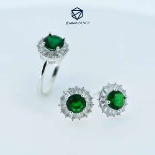 Set nhẫn bạc, bông tai bạc nữ Jemmia đá xanh viền hoa - JM882