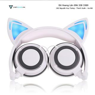 Tai nghe tai mèo Trắng Xanh cực kỳ dễ thương