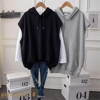 Áo khoác hoodie không tay dáng rộng dài có Size lớn 100kg dành cho nữ