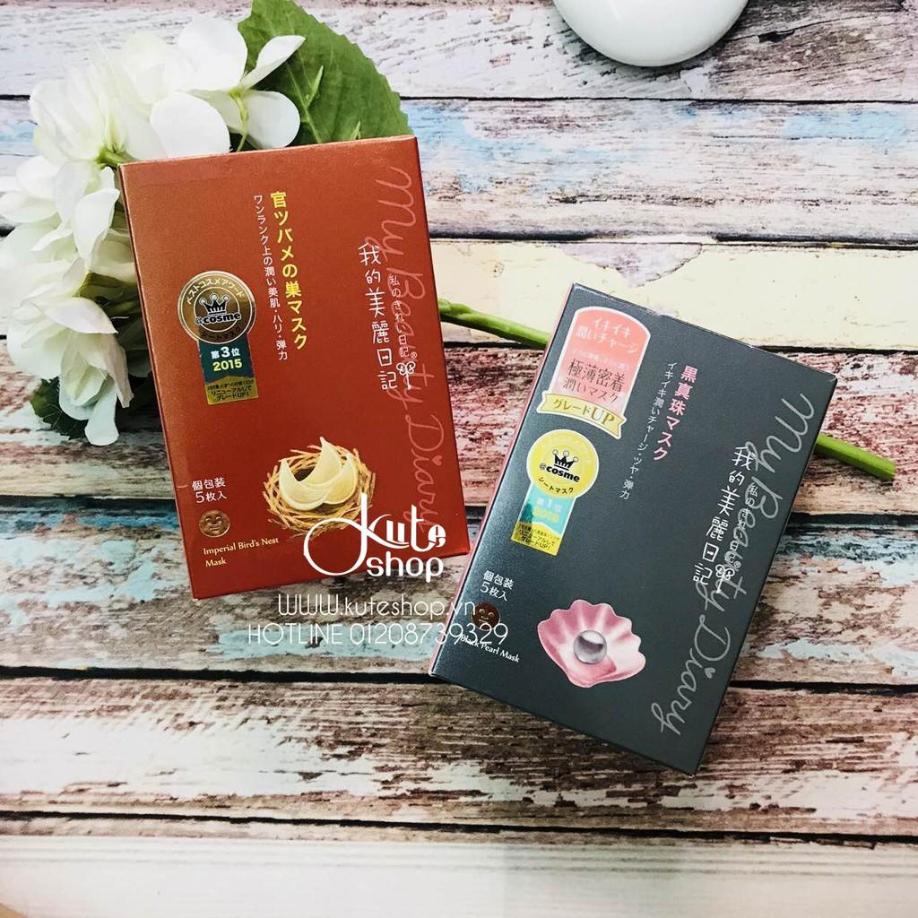 Mặt nạ giấy My Beauty Diary Bird's Nest & Black Pearls bản Nhật