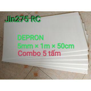 Xốp depron Combo 5 tấm khổ 5mm x 100cm x50cm làm kit máy bay
