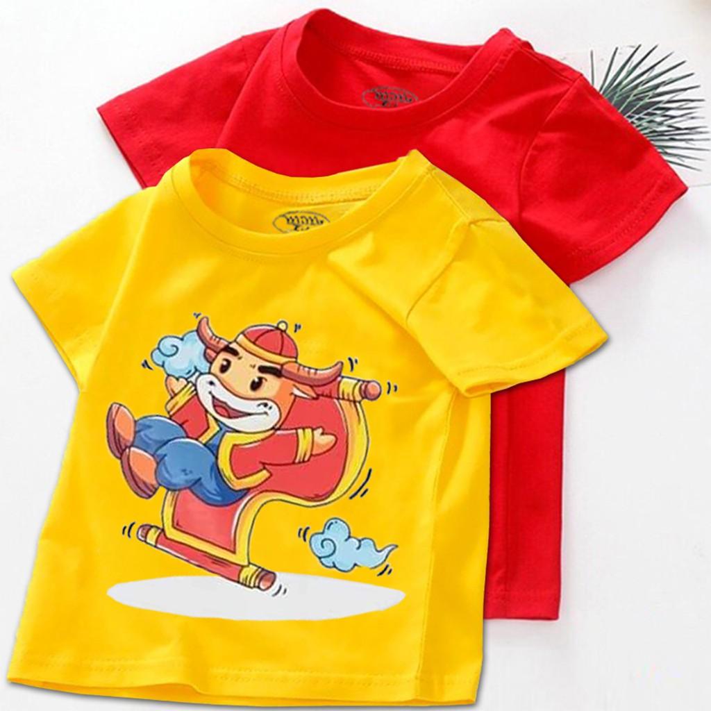 Combo 2 Áo tết cho bé trai, bé gái 6kg - 16kg đồ tết cho bé trai, bé gái 2021| quần áo trẻ em tết Tân Sửu | áo thun tết
