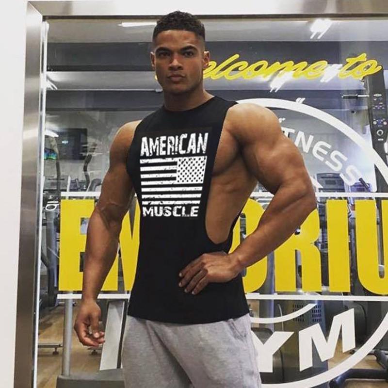 Áo Tank Top Tập GYM Nam Xẻ Nách Rộng American Muscle Chất Cotton thấm hút