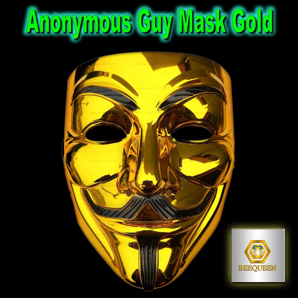 Anonymous Guy Mask Gold – Mặt Nạ Hacker Có Dây Đeo Màu Vàng