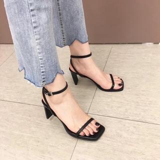 Sandal đen gót dẹt về Sz 35-38