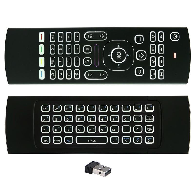 Chuột bay kiêm bàn phím Air Mouse Keyboard MX3 (Đen) + Tặng 01 cặp pin AAA