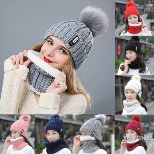 Set mũ len trùm đầu kèm khăn choàng cổ giữ ấm thời trang cho