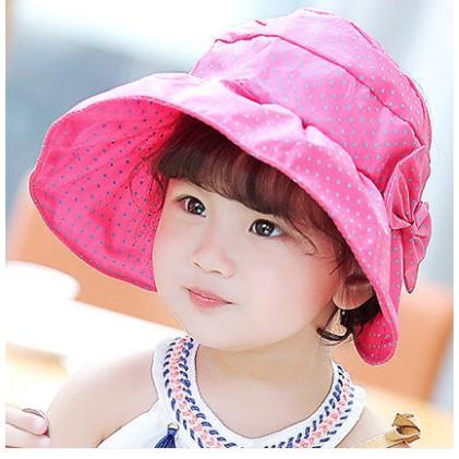 Mũ vành rộng chấm bi có nơ xinh xắn cho bé gái