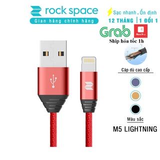 Dây sạc iPhone Chính hãng Rockspace M5 dây dù 1 mét, sạc nhanh ổn định, BH 1 năm 1 đổi 1 mới thumbnail