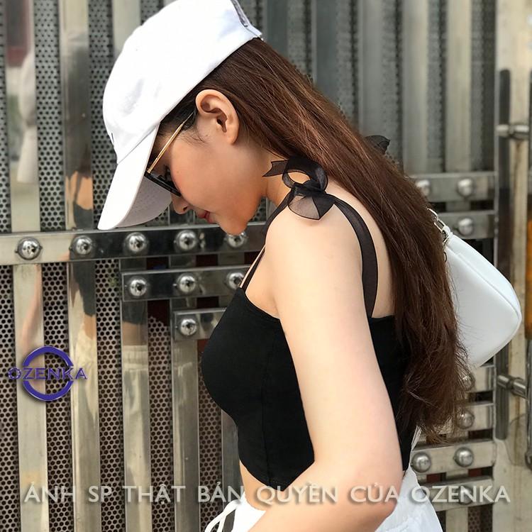 Áo croptop trên phối dây voan , áo hai dây kiểu thắt nơ ruy băng thun gân mịn mát hai dây điều chỉnh được OZENKA 155