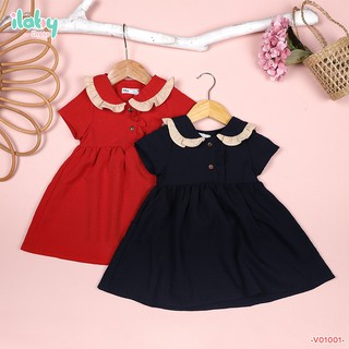 Váy cho bé gái ILABY đũi cổ bèo 1 lớp [V01001]