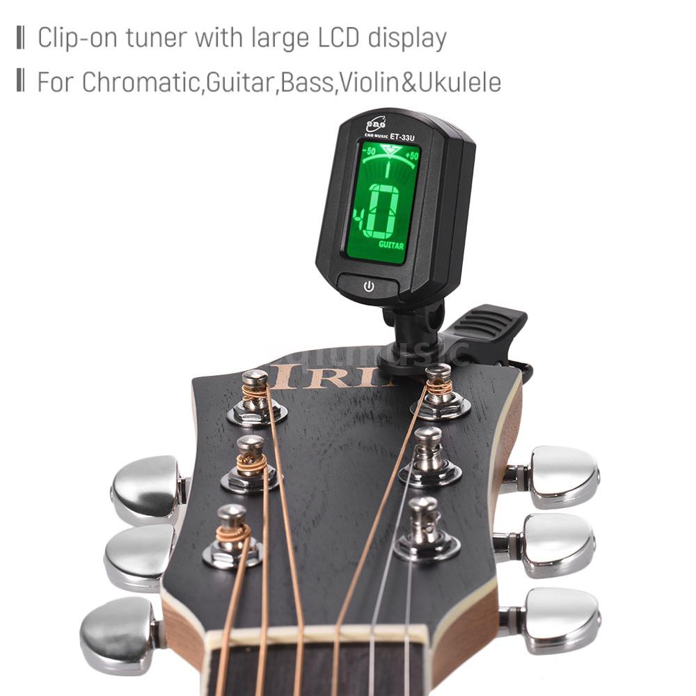 HOT eno ET-33U Portable Clip-On Tuner LCD Display for Guitar Chromatic Ukulele