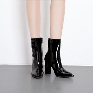 [ Có hình thật] Boot nữ cổ lửng da bóng đơn giản hiện đại GBN1601