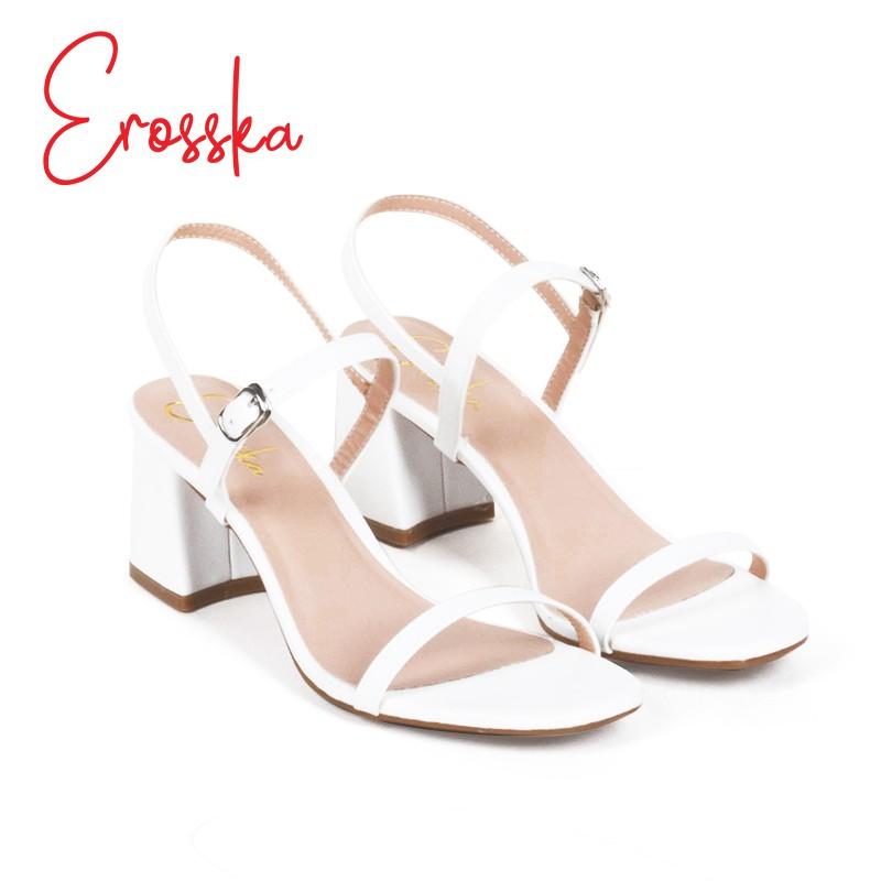 Hình ảnh Giày Sandal Nữ Thời Trang Erosska 5cm Mũi Vuông - EM019 - Màu Nude-1