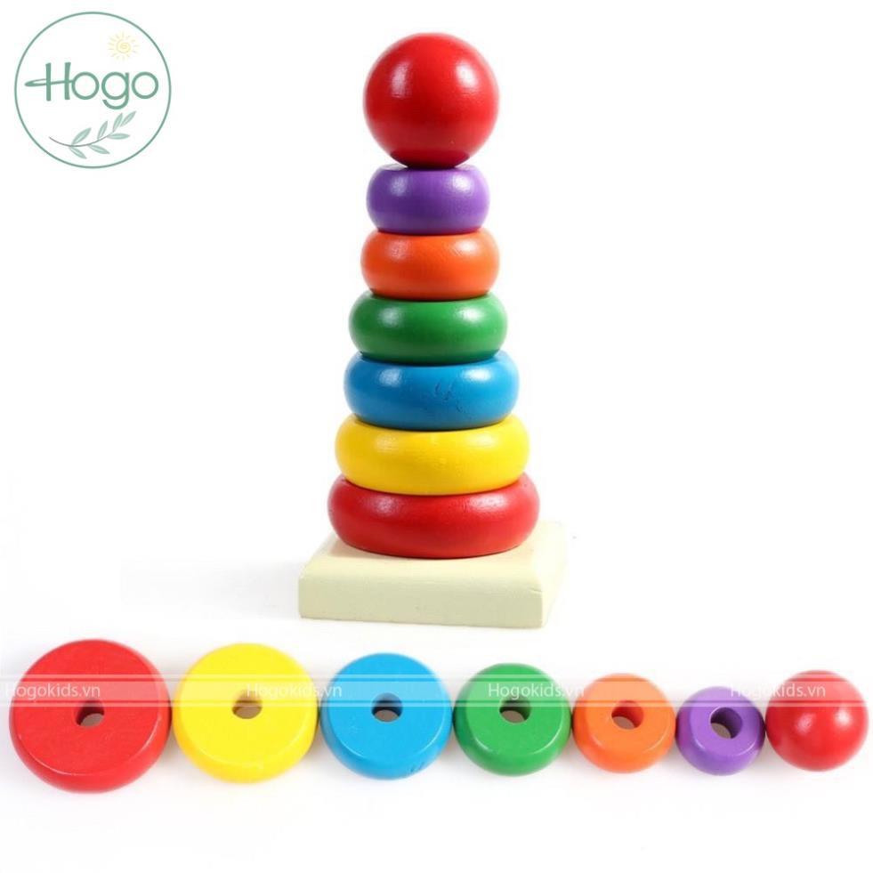 Đồ chơi gỗ Tháp xếp khối vòng gỗ 7 sắc cầu vồng vào trụ phát triển trí tuệ thông minh quan sát tư duy Logic