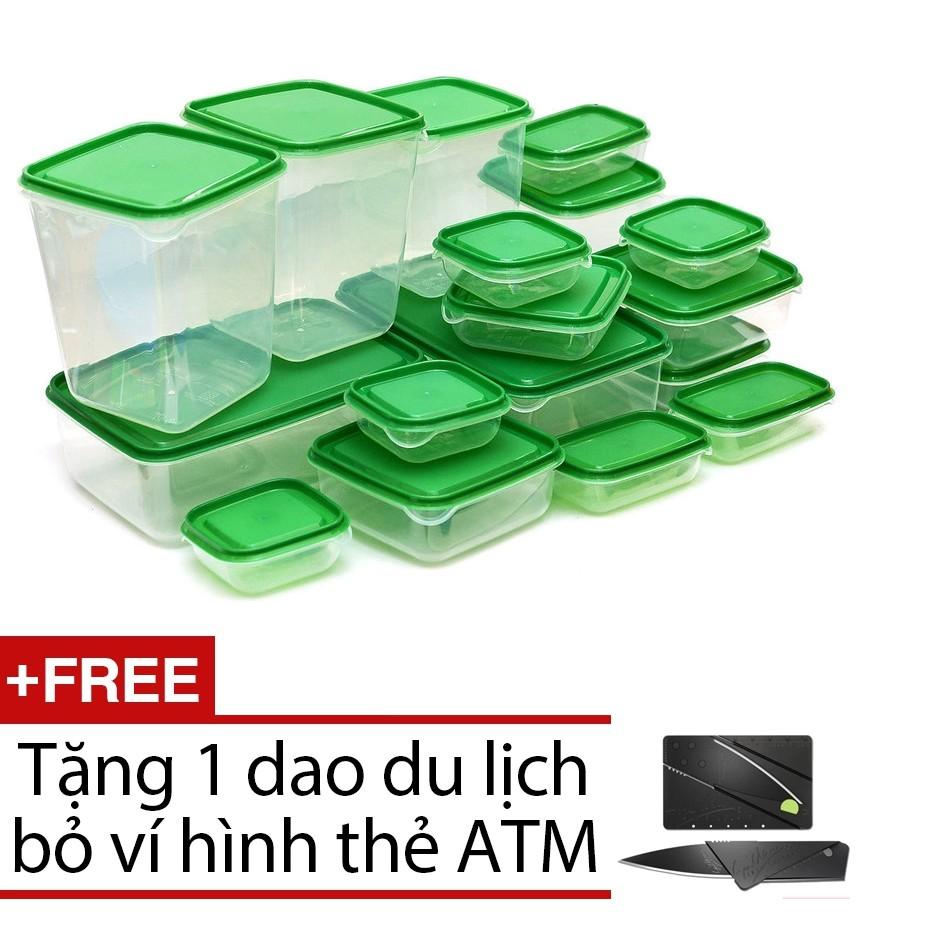 Bộ 17 hộp đựng đồ ăn VRG008768 + Tặng 1 dao du lịch bỏ ví