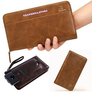 Ví nam dài cầm tay da cao cấp đựng điện thoại, tiền, thẻ atm, căn cước đẹp, giá rẻ màu đen, nâu [Bóp cầm tay nam] thumbnail