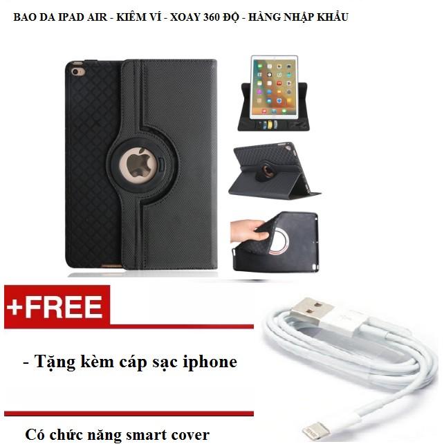 Bao da kiêm ví xoay 360 độ tắt mở màn hình cho ipad air tặng kèm cáp sạc iphone - Màu đen - 3165279 , 980458218 , 322_980458218 , 295000 , Bao-da-kiem-vi-xoay-360-do-tat-mo-man-hinh-cho-ipad-air-tang-kem-cap-sac-iphone-Mau-den-322_980458218 , shopee.vn , Bao da kiêm ví xoay 360 độ tắt mở màn hình cho ipad air tặng kèm cáp sạc iphone - Màu đen