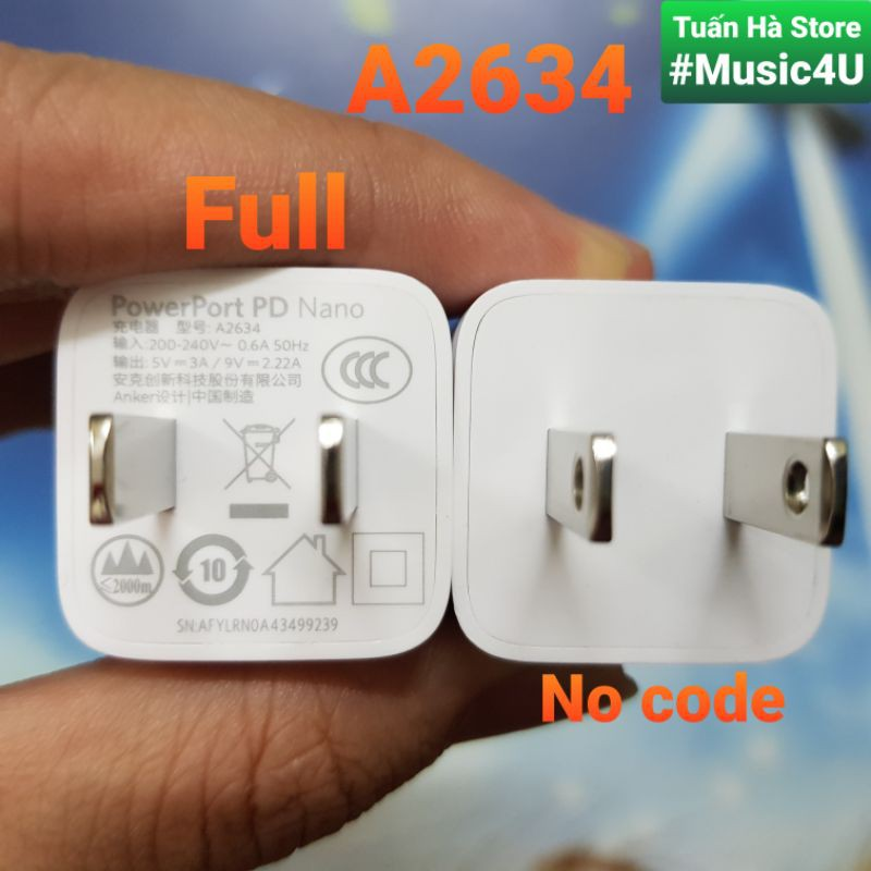Củ sạc nhanh Anker A2634 A2633 PD 20W Powerport Nano cho  IPhone 12, IPhone 12 Pro, IPhone 12 Pro Max [Music4U]