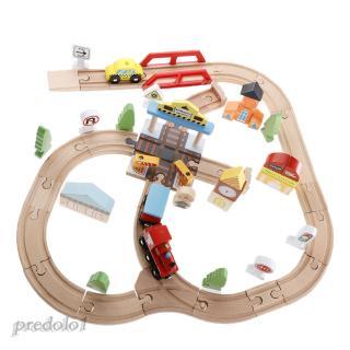 44 Pieces Wooden City Traffic Train Set Kids Early Developmental Toy Gift