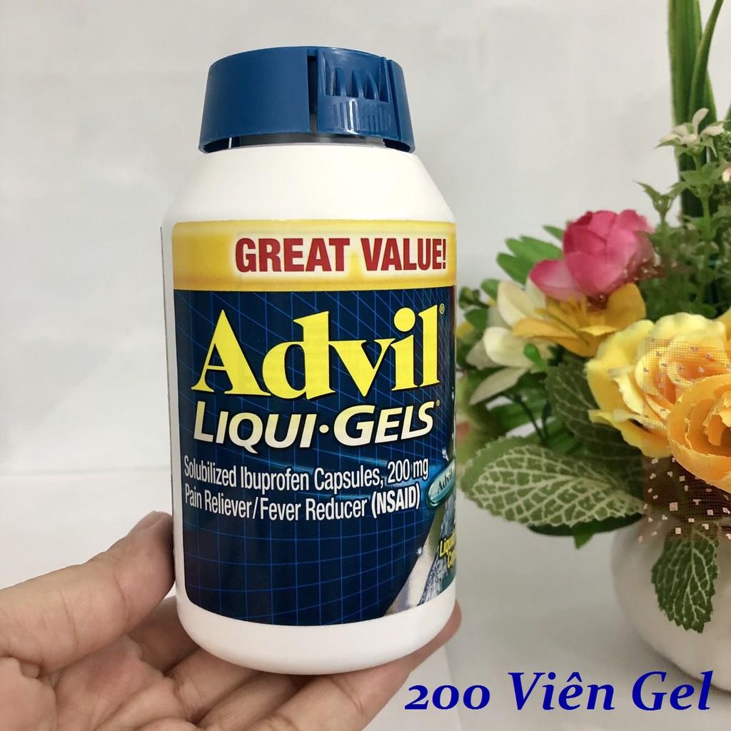 { SALE221 }  ❤️ [Date 2023] AD.VIL Ibuprofen Tablets 200mg Mỹ, Hộp 200 viên Gel Lỏng xanh n