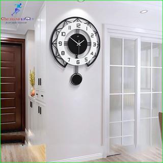 Đồng hồ treo tường, đồng hồ trang trí quả lắc nghệ thuật đẹp phong cách châu âu thumbnail