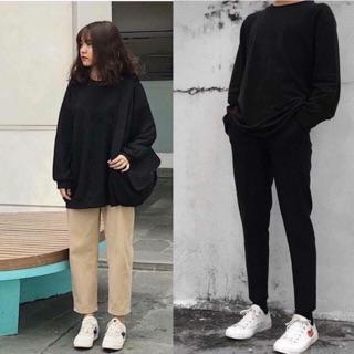 Áo sweater đen trơn nam nữ unisex