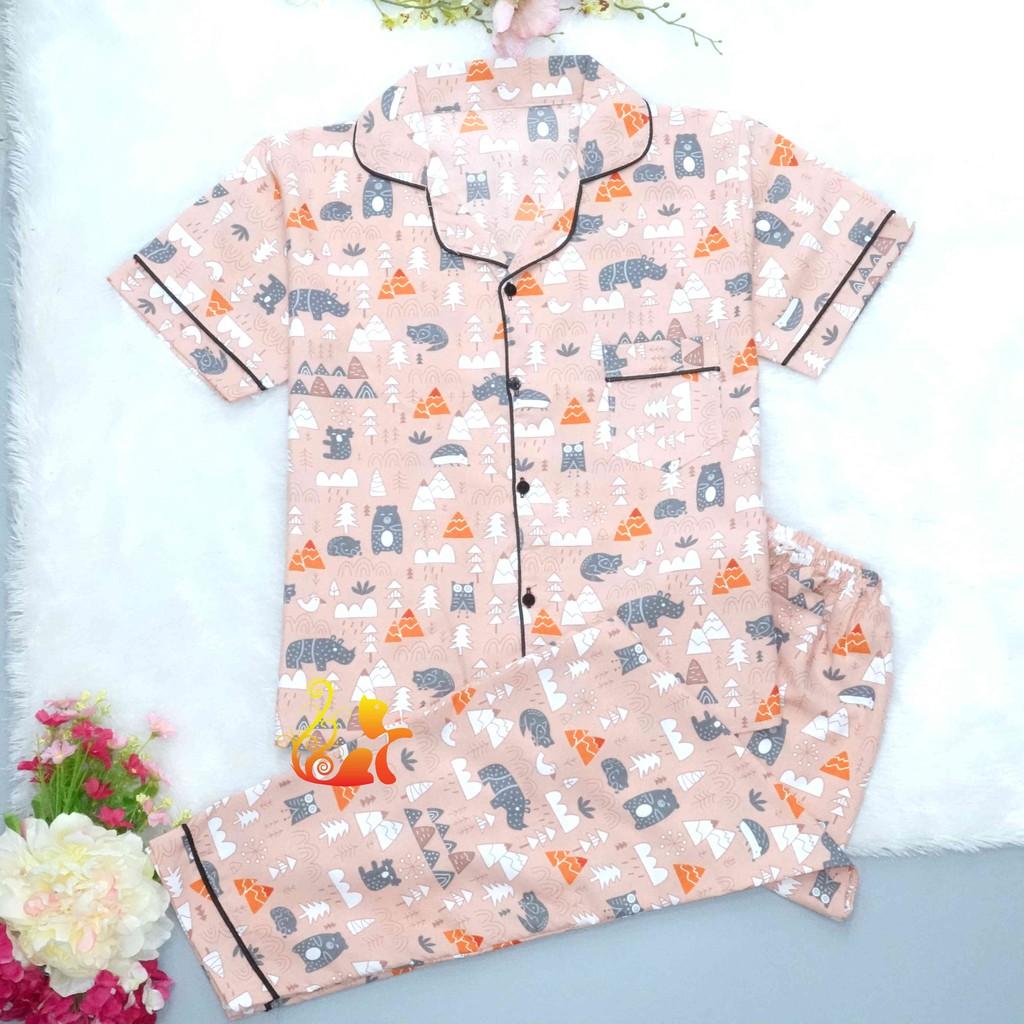 """Đồ Mặc Nhà """"Rừng thông"""" Pijama Kate Thái Quần Dài - Dưới 60kg"""