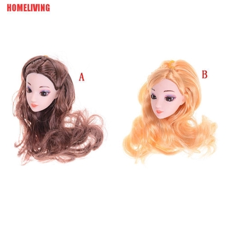 [HOMELIVING]3D Eyes Head Nake Joints Body Doll Head Toys for Barbie Dolls Long Hair