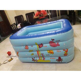 Combo bể tắm thành cao 70cm kèm bơm và đồ chơi cho bé