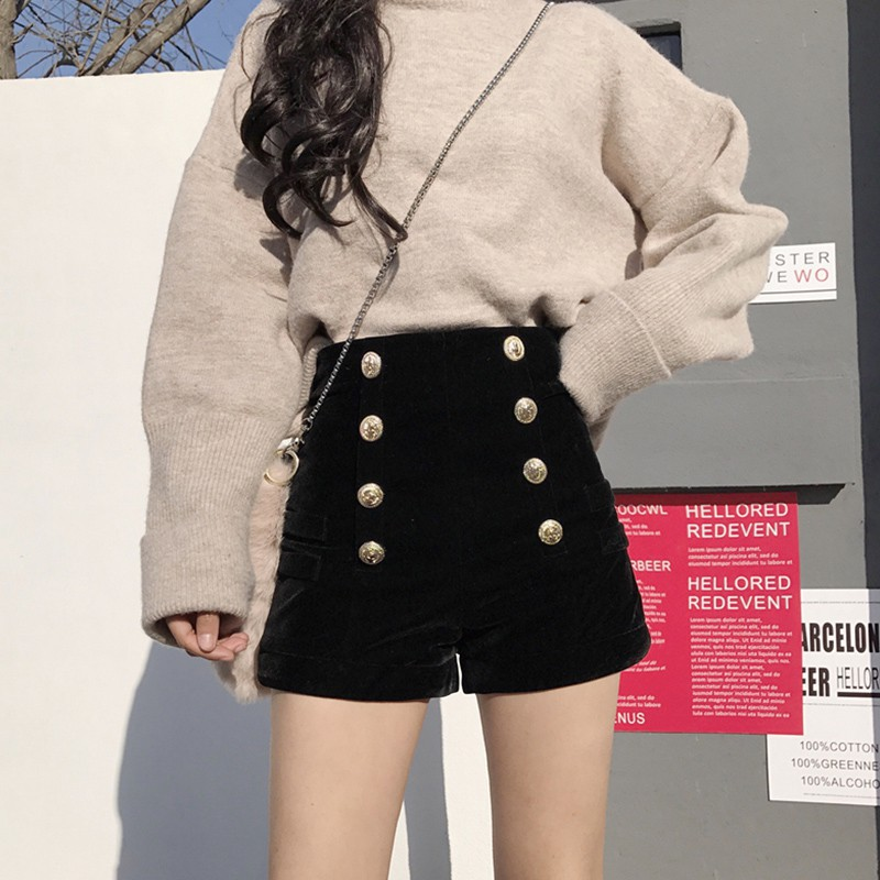 G high waist fashion port luxury wind fall temperament double breasted velvet sh