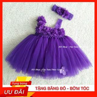 Đầm tutu cho bé ❤️FREESHIP❤️ Đầm tutu tím Huế hoa dải