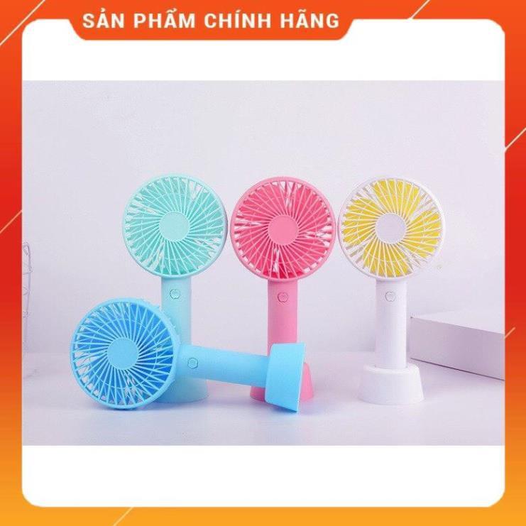 [FREESHIP CHÍNH HÃNG] Quạt cầm tay mini tích điện,có đế để bàn ,4 cánh, 3 chế độ gió