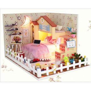 Mô hình nhà búp bê DIY phòng ngủ MOON BAY cho bé yêu
