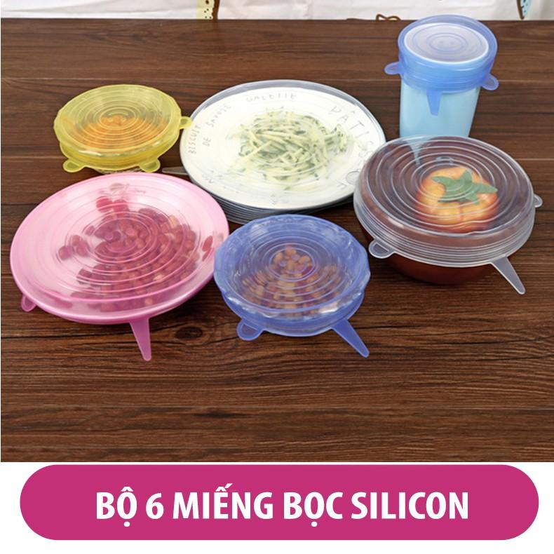 Bộ 6 miếng bọc, màng bọc Silicon bảo vệ thực phẩm đa năng