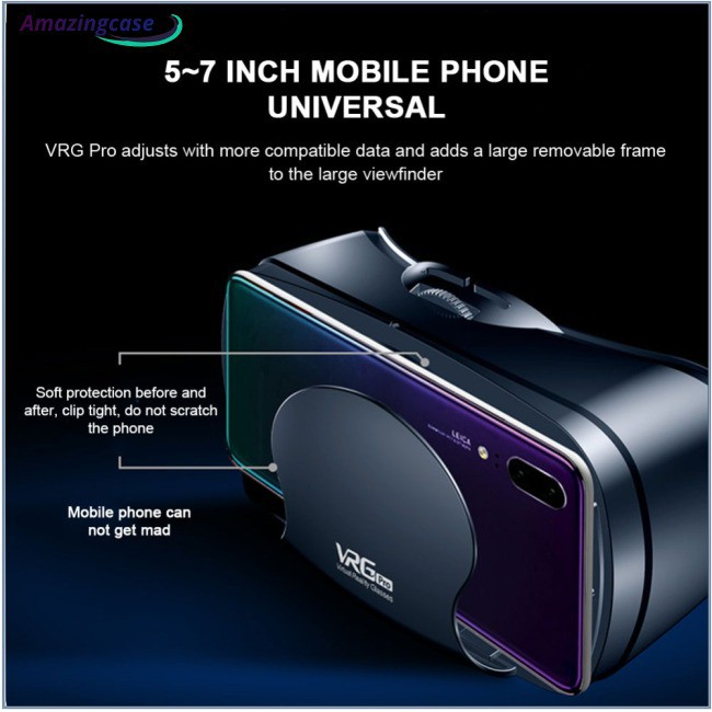 Virtual Reality VR Glasses Full Screen Visual Wide Angle 120 Degrees VR Glasses for 5 To 7 Inch Smartphone Devices