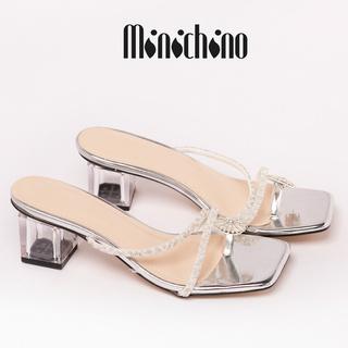 Giày đế xuồng nữ cao 5cm MINICHINO đế vuông kiểu xỏ ngón, mũi vuông phối dây thời trang màu trắng thumbnail