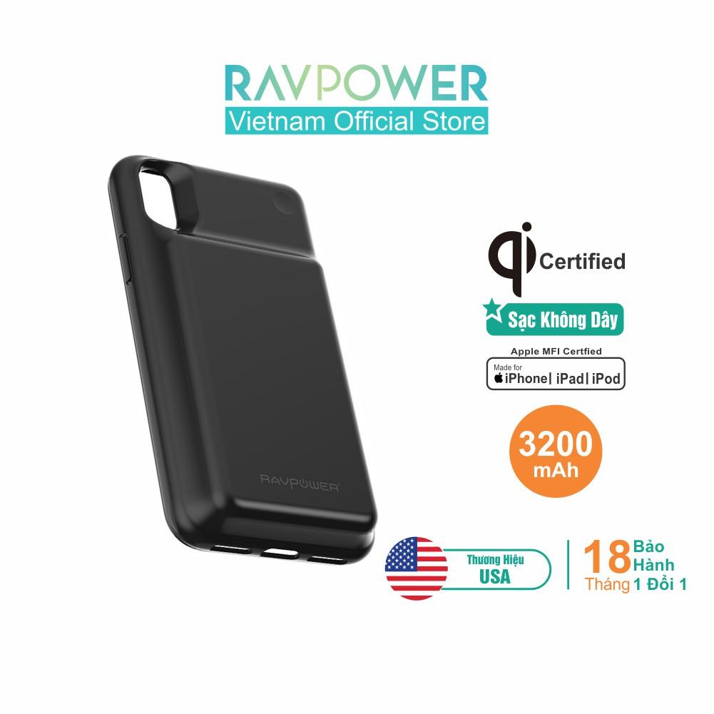 RAVPower RP-PB120 3200mAh Pin Sạc Dự Phòng Không Dây Kiêm Ốp Lưng Cho iPhone X/Xs Black Of
